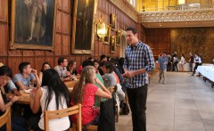 The students enjoy a buffet in King's Georgian Gothic dining hall. Dessert is lemon cheesecakes, chocolate gateaus and strawberry meringue roulades.